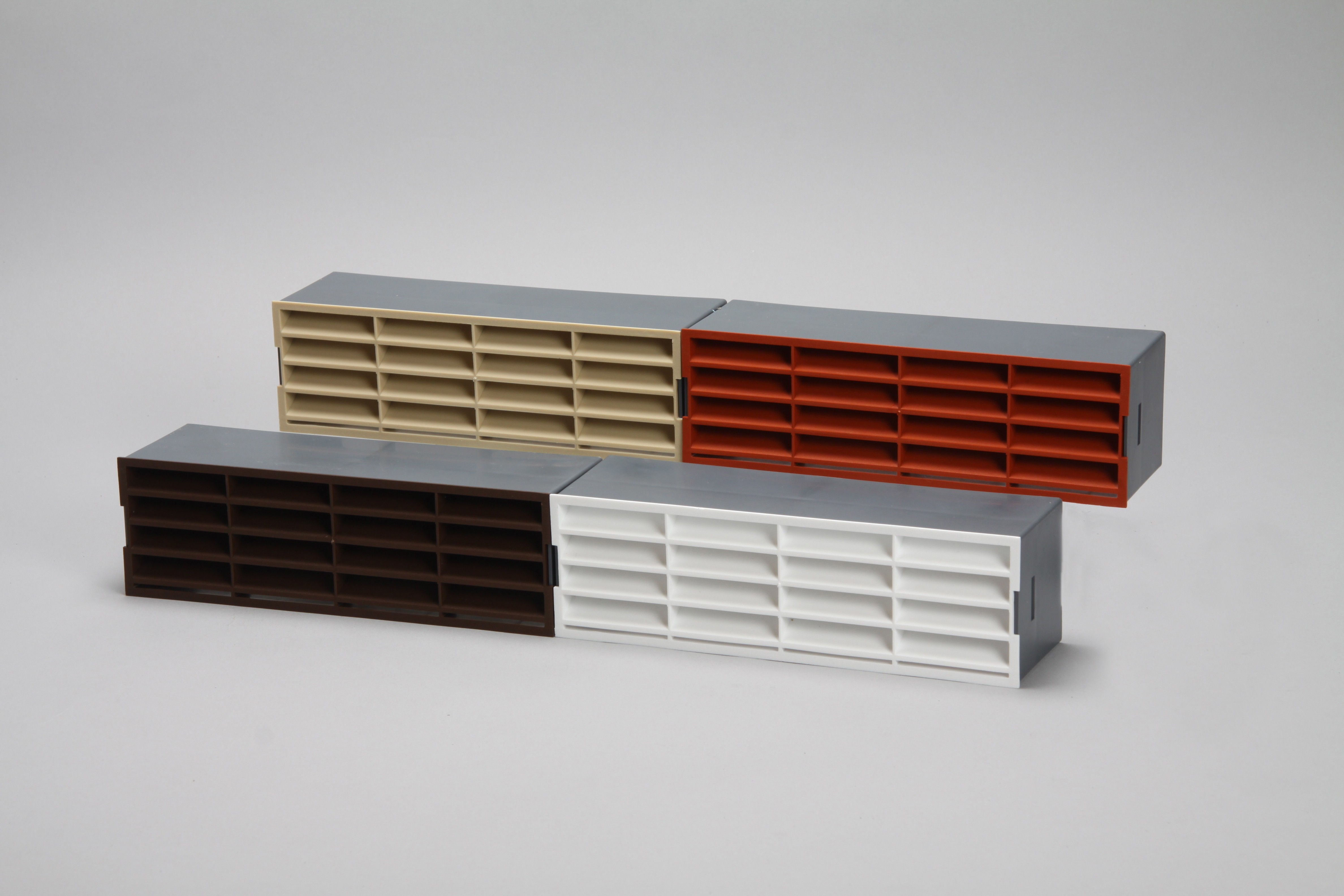 Air brick vent grille inset in holder 204mm x 60mm ducting