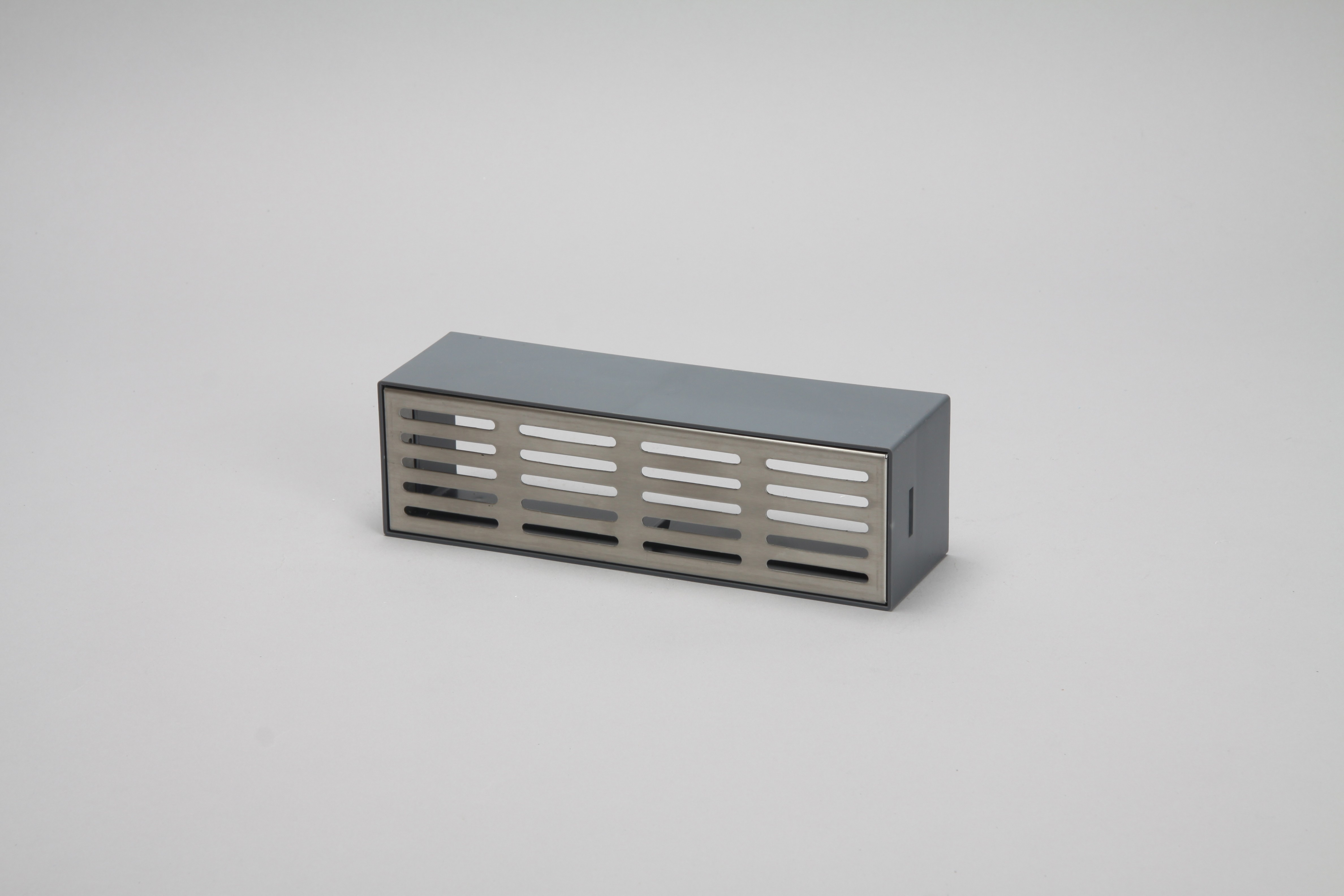 Brick vent with holder 204mm x 60mm brushed stainless steel