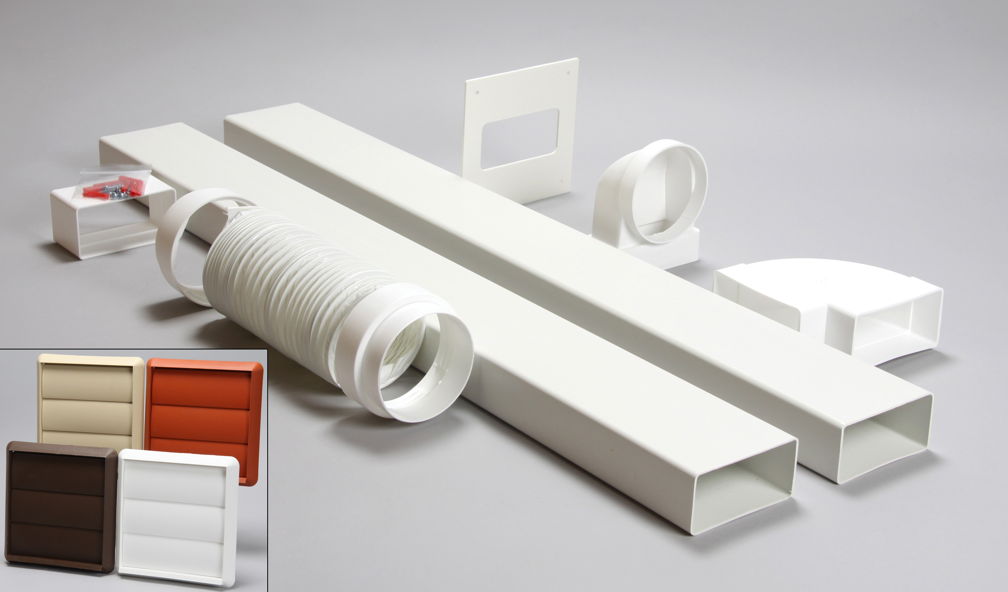 3 metre 110mm x 54mm ducting kit gravity vent