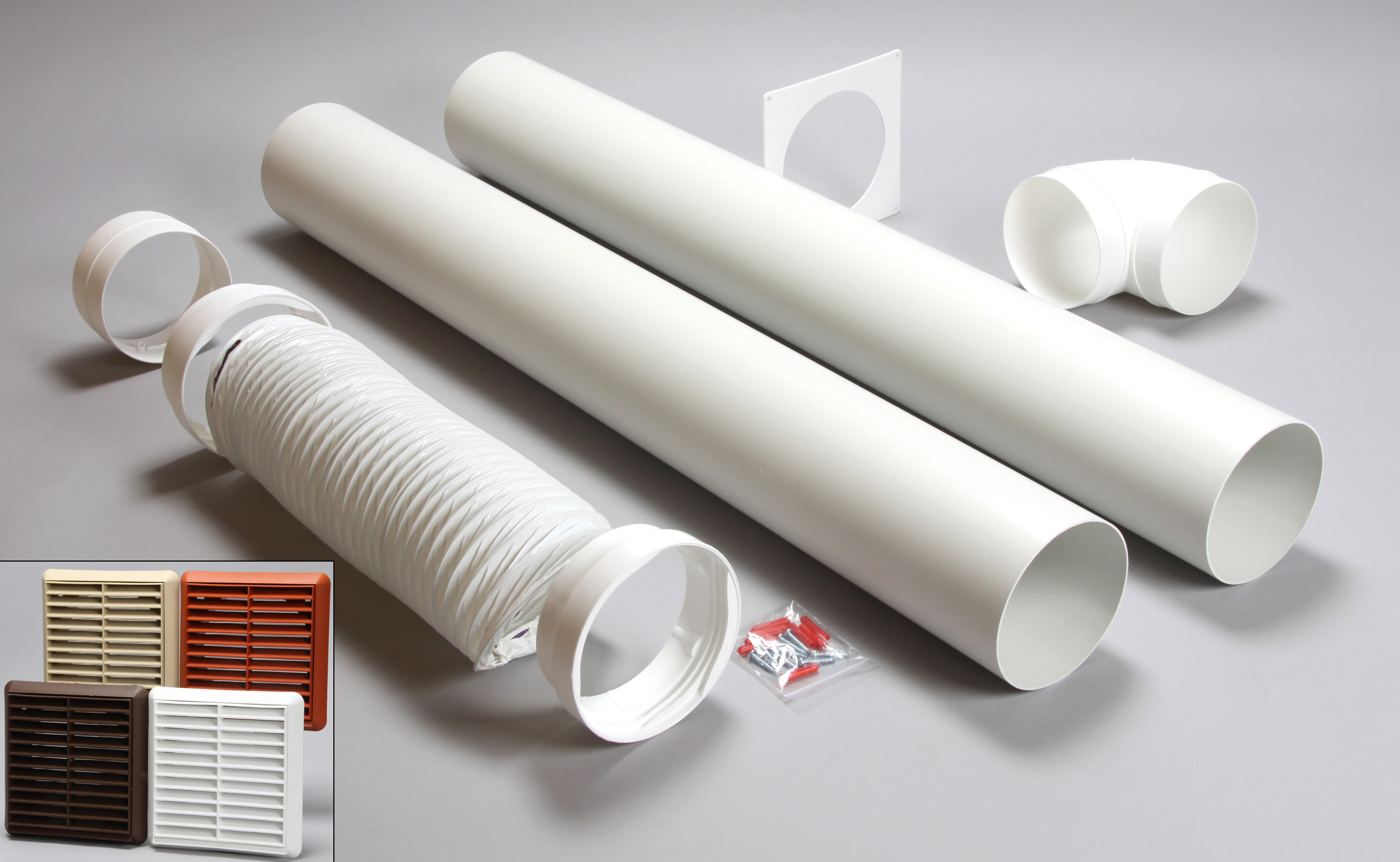 3 metre round ducting kit louvred vent 125mm