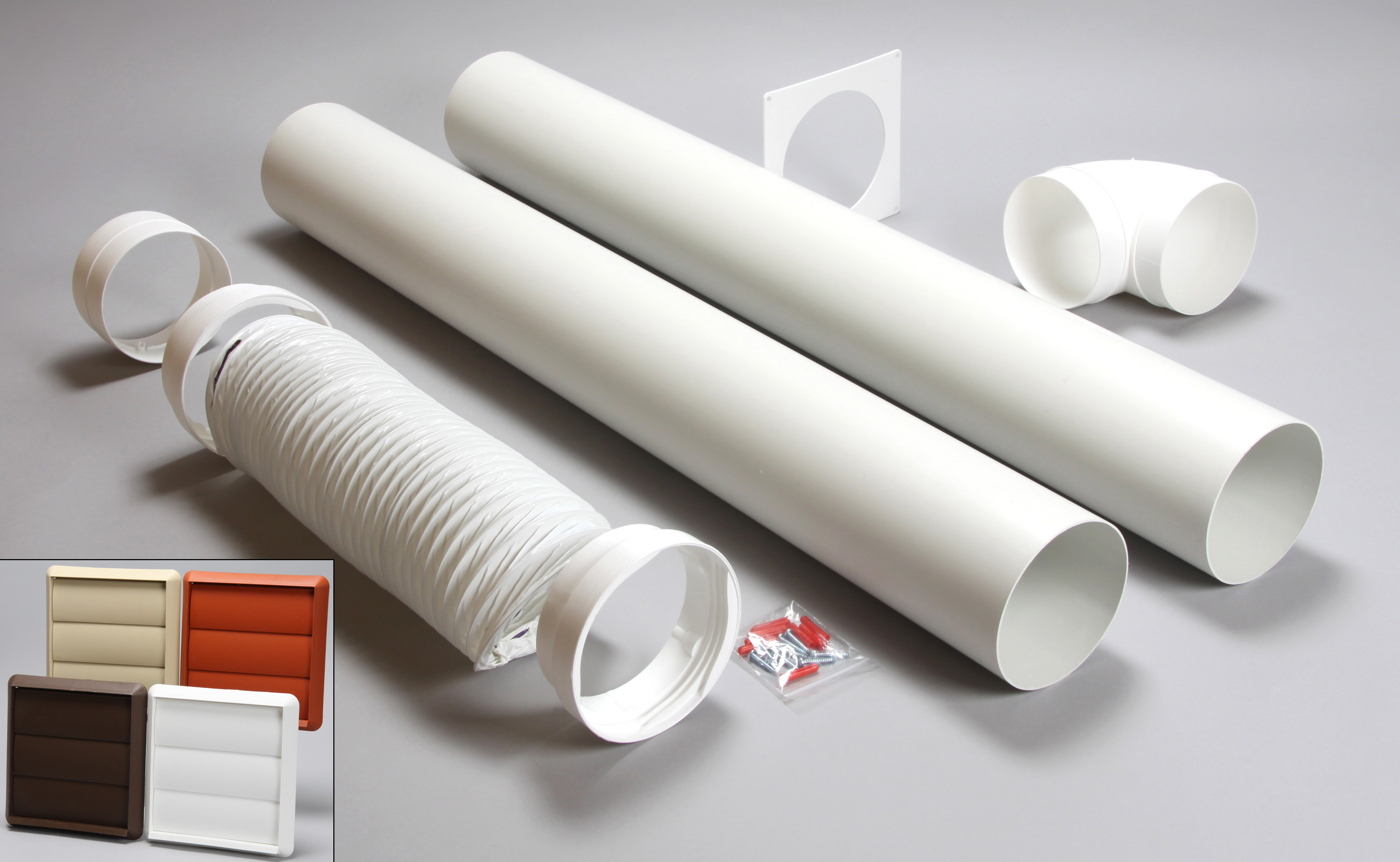 3 metre round ducting kit gravity vent 100mm