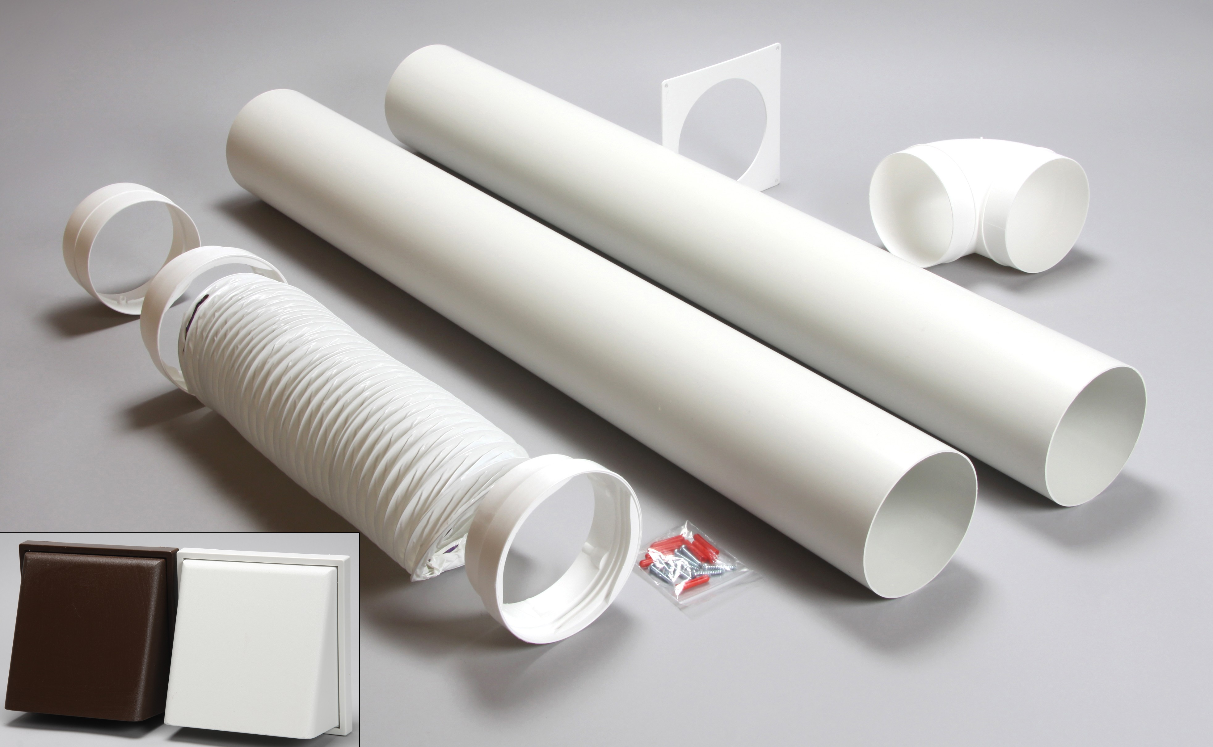 3 metre round ducting kit cowled vent white 150mm
