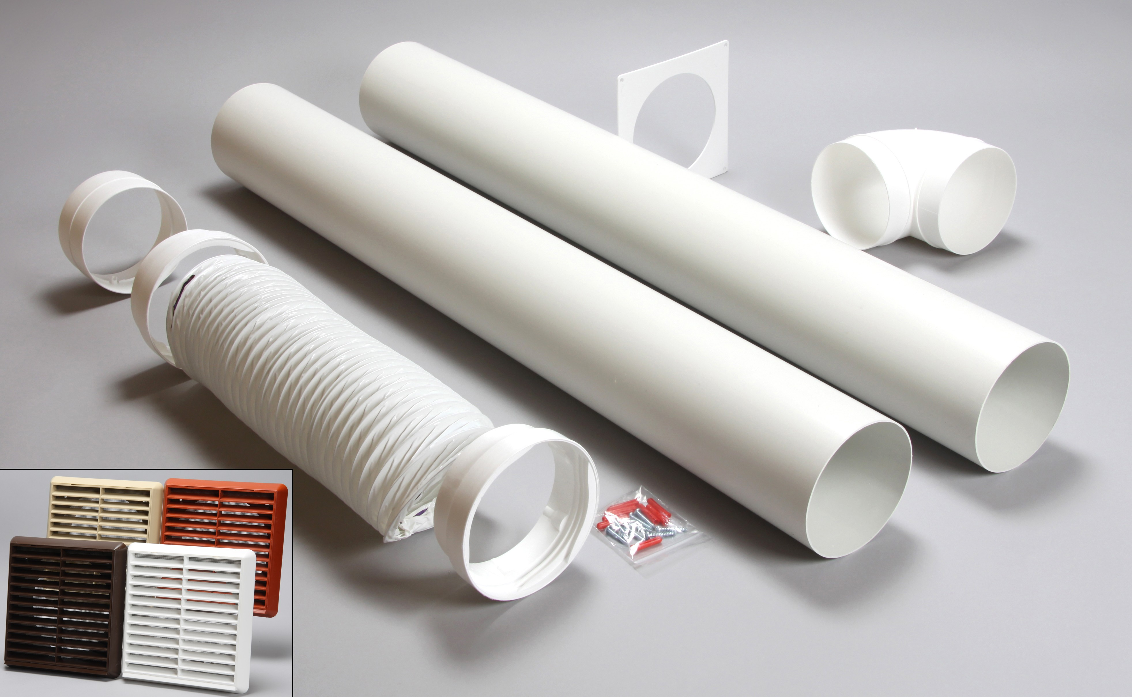 3 metre round ducting kit louvred vent 150mm