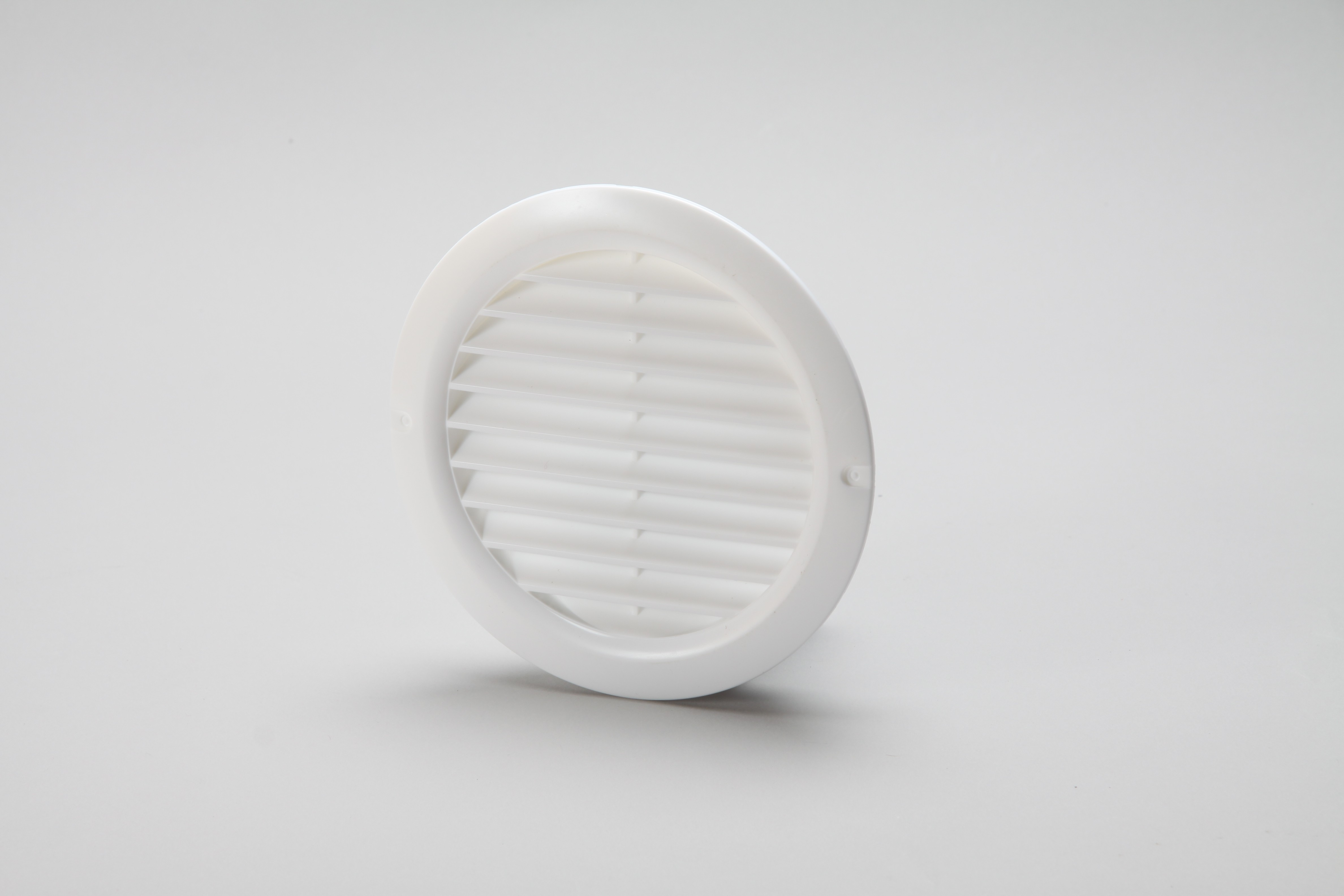 Vent grille round louvred with fly screen 125mm white