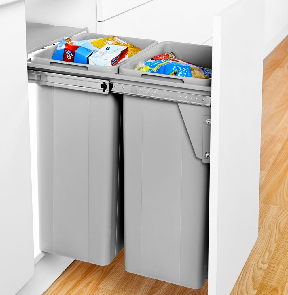 Pull out bin soft close for 400mm unit 64 litre finish alu grey
