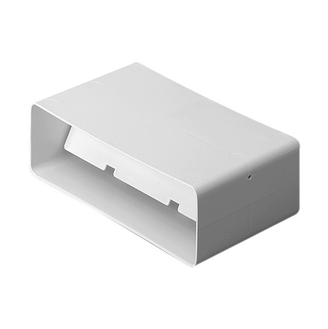 Flat channel connector with damper flap 204mm x 60mm ducting