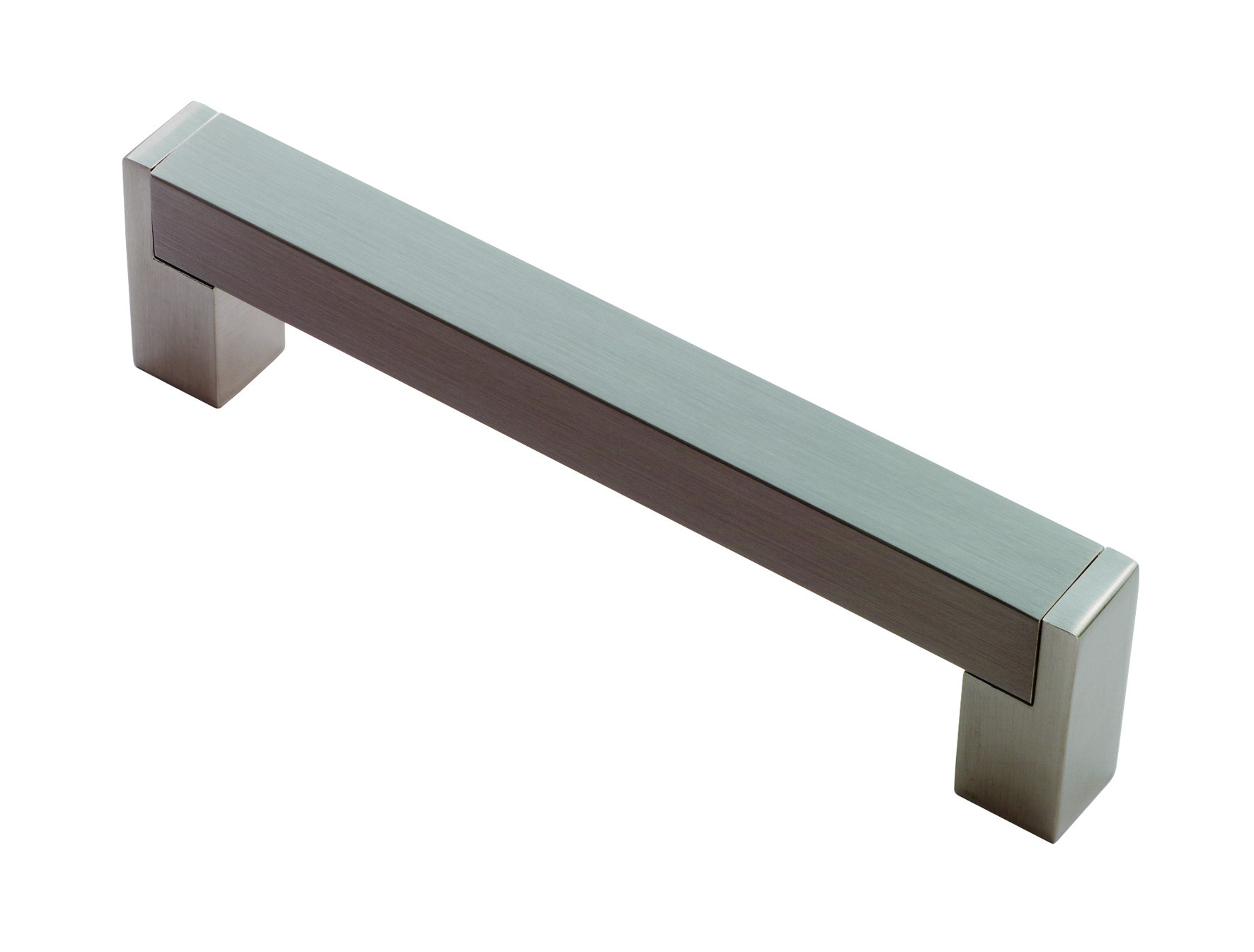 Square section D handle 224mm centres satin nickel