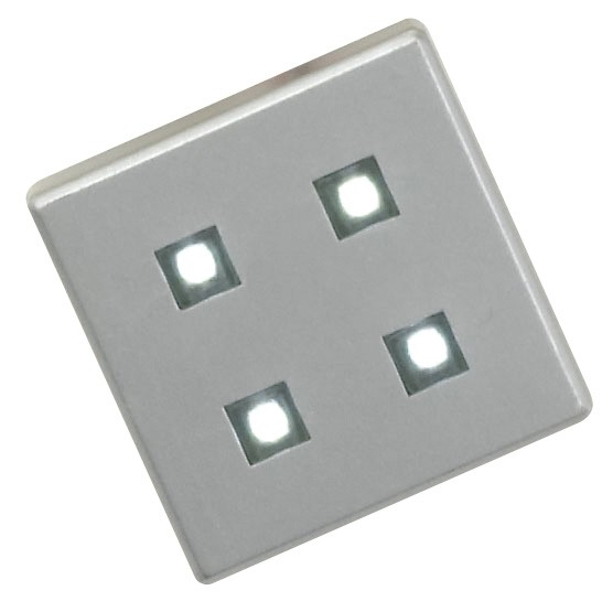LED plinth light set square 4 heads with 4 LEDS silver