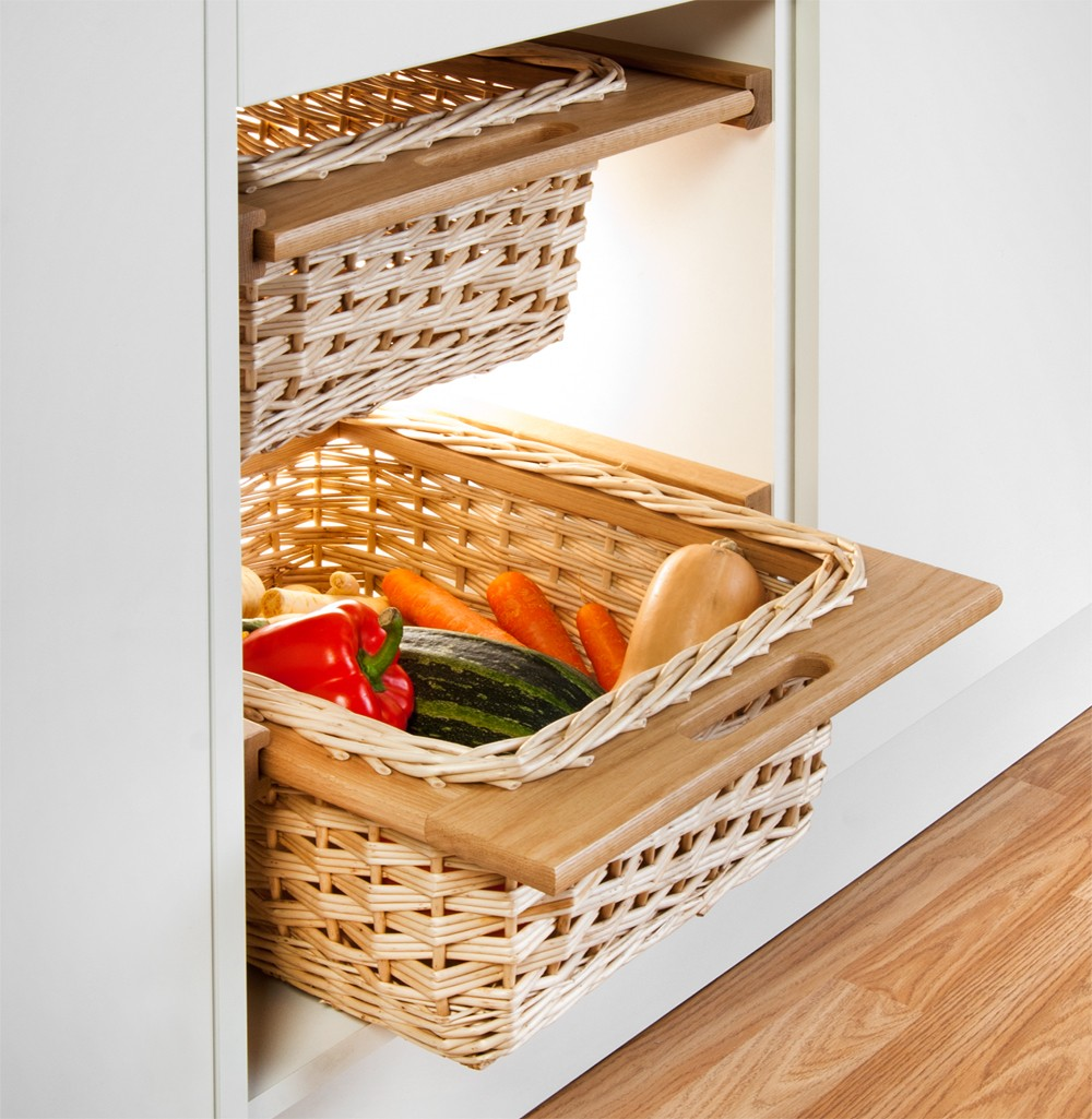 Two pull out white wicker & oak baskets with runners for base unit