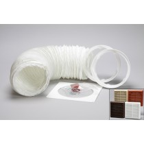 1 metre round hose kit louvred vent grille 125mm