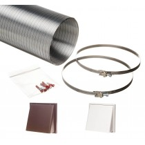 1.5 metre semi rigid aluminium hose ducting kit cowled vent grille 150mm