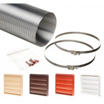 3 metre semi rigid aluminium hose ducting kit gravity vent grille 150mm