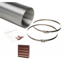 1.5 metre semi rigid aluminium hose ducting kit gravity vent grille brown 150mm