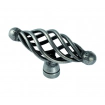Steel cage oval knob antique steel
