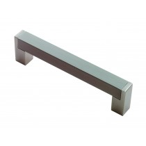 Square section D handle 448mm centres satin nickel