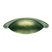 Traditional cup pattern handle 64mm centres antique brass