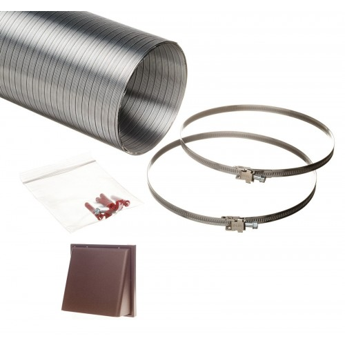 1.5 metre semi rigid aluminium hose ducting kit cowled vent grille brown 150mm