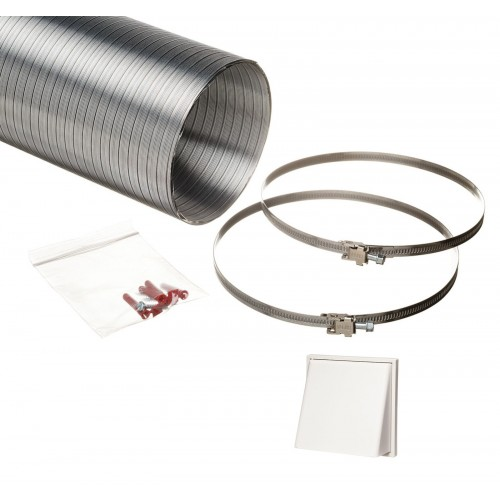 1.5 metre semi rigid aluminium hose ducting kit cowled vent grille white 150mm