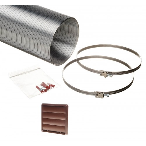3 metre semi rigid aluminium hose ducting kit gravity vent grille brown 150mm