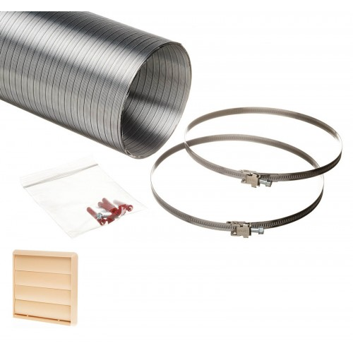 1.5 metre semi rigid aluminium hose ducting kit gravity vent grille beige 150mm
