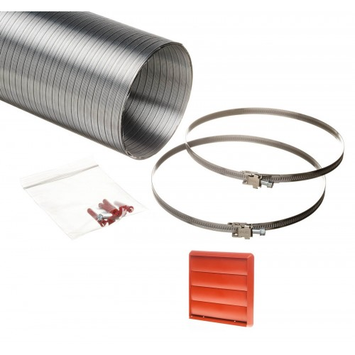 1.5 metre semi rigid aluminium hose ducting kit gravity vent grille terracotta 150mm