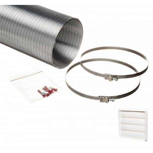 1.5 metre semi rigid aluminium hose ducting kit gravity vent grille white 150mm